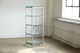 glass shelfs modern brushed aluminium construction with 5 x 3 8 thick shelves sy tempered