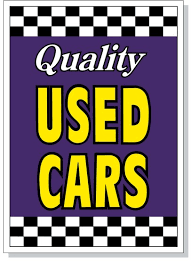 auto for sale sign quality used cars hood sign purple
