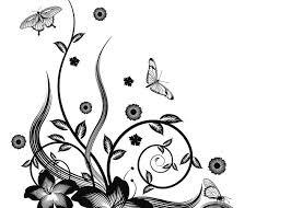 Gorgeous Black Corner Floral Design Greeting Card
