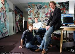 facebook office palo alto. geniuses mark zuckerberg dustin moskovitz and sean parker are pictured in front of the facebook office palo alto