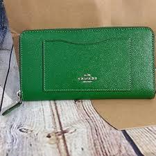 Coach Kelly Green accordion zip wallet