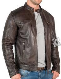mens vintage brown leather jacket mustang front