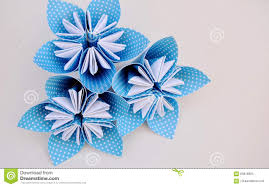 Paper Origami Flower Bouquet Blue Origami Flowers Made Of Polka Dotted Paper Stock Image Image