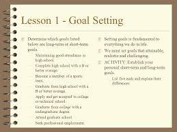 Professional Goals List Lesson 1 Goal Setting 4 This Lesson Is Designed To