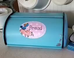Turquoise Bread Box Unique Shabby Chic Cottage Style Turquoise Bluebird Metal Bread Box