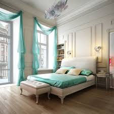 bedroom cool romantic atmosphere with large window glass wonderful curtains in the great color turquoise for caribbean bedroom furniture