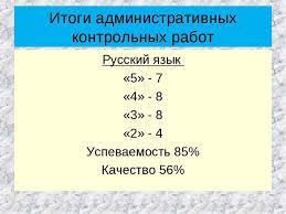 родительское собрание класс Итоги административных контрольных работ Русский язык 5 7 4 8