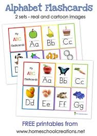 One with a cartoon image and another with a photo of a real item. Alphabet Flash Cards And Alphabet Wall Posters