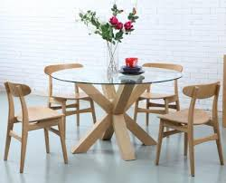 oscar round dining table glass solid oak timber 130cm diameter dining tables