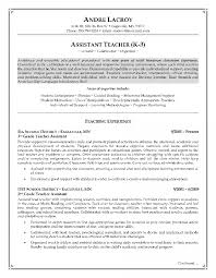 Teacher Resumes How To Write A Resume With No Experience Assistant