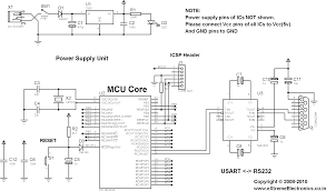 rs communication using picf s usart pic microcontroller pic18f4520 usart test schematic