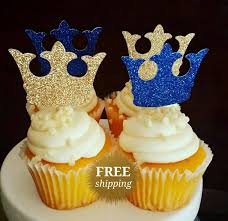Blue And Gold Baby Shower Decorations Prince Crown Cupcake Toppers Glitter Crown Toppers Gold Royal Blue