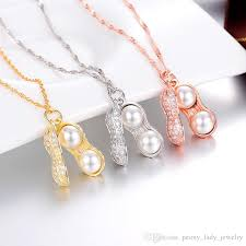 whole 925 sterling silver necklace crystal peanut shap white pearl jewelry diamond pendant necklaces woman necklaces charms costume jewelry lockets from
