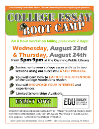 college essay boot camp at ossining public library on
