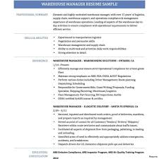 Warehouse Manager Resume Sample Objective Warehouse Resume Examples Manager Sample Word Logistics 23