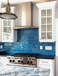 Innovation Blue Kitchen Tiles Tile Backsplash Calm Cool And Colorful This Herringbone On Beautiful Design