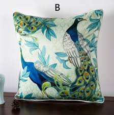 Peacock throw pillows for couch pastoral style animal sofa cushions