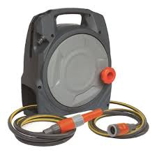 portable garden hose handy reel included with hose and spray nozzle