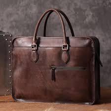 luxury vintage leather briefcase shoulder laptop business bag for men coffee