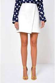 more views tess faux leather skirt in white