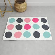polka dots painted abstract minimalist bright pink blue and navy dot pattern nursery rug