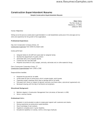 Sample Resume For Construction Superintendent Gallery Creawizard Com