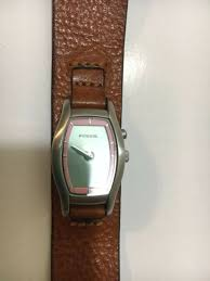 women s fossil watch jr8348 flower leather strap working clean