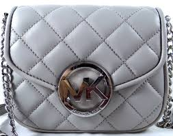 Michael Kors Fulton Quilt MK Silver Pearl Grey Leather Small ... & MICHAEL MICHAEL KORS Fulton Pear Grey Quilted Leather Crossbody Bag Adamdwight.com