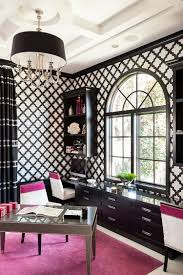 chic home office decor:  transitional black and white home office infused with a splash of fuchsia design marilee