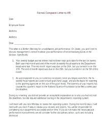 Formal Letter Of Complaint To Employer Template