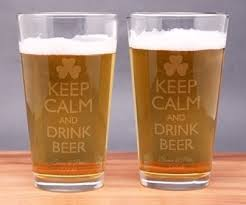 engraved keep calm and drink beer pint glasses set