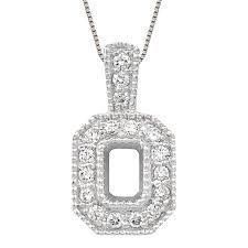 emerald cut semi mount pendant with small diamonds
