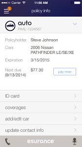 temporary car insurance card with esurance insurance company