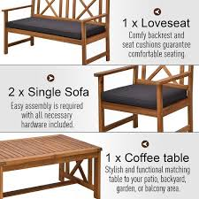 Outsunny 4 Piece Acacia Wood Outdoor Patio Furniture Set With 2 Armchairs 1 Sofa 1 Coffee Table Cushions Included On Sale Overstock 31149053