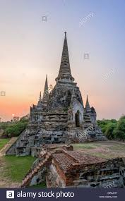 famous ancient architecture. Ruins And Pagoda Ancient Architecture Of Wat Phra Si Sanphet Old Temple Famous Attractions During Sunset At Ayutthaya Thailand