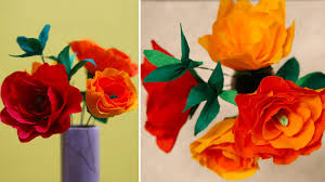 How To Make Flower Using Crepe Paper Diy Crafts How To Make Crepe Paper Rose Flower