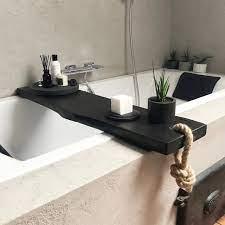 black wooden bath caddy bath shelf bath