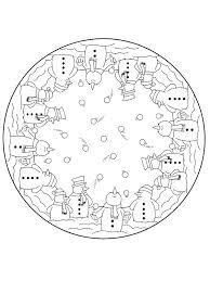Kerstmis Mandala Sneeuwpop Kleurplaat Jouwkleurplaten