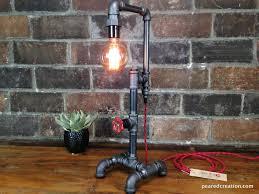 diy pipe lighting. Edison Bulb VIntage Pipe Desk Lamp By Peared Creation Diy Lighting