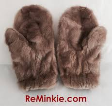 fur mittens made from a mother s old fur coat pictured is the front