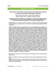 The Nature Of The Beast Examining Climate Adaptation Options In