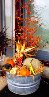 farmhouse harvest decor idea entry beautiful porch decor made with an old washtub filled with products of