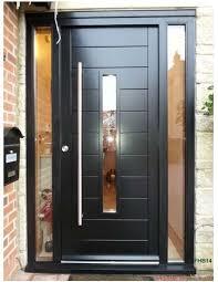 Black Solid 5 Panel Modern Exterior Door With Sidelights  Google Solid Wood Contemporary Front Doors Uk