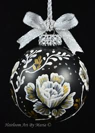 Hand Decorated Christmas Balls Hand Painted Christmas Ornaments Rose Pattern OrnamentFlower 43