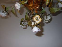 italian tole porcelain roses flowers chandelier in good condition for in mirandola mo