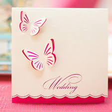 Weding Card Designs Wedding Invitations Butterfly Style Fancy Design Invitation Card Folded Champagne Color Free Customized And Printing Send And Seal Wedding Invitations