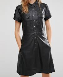 women faux leather shirt dress with short sleeves