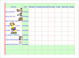 chore chart template for teenagers sample chore chart 9 documents in word excel pdf