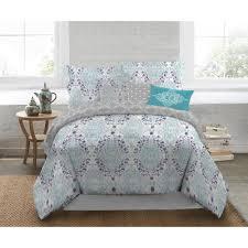 nicole miller nicole miller 5 piece queen multi damask comforter set q emma 999 the home depot