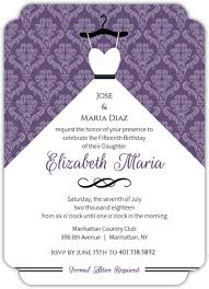 Invitation Quincenera Royal Purple Ball Gown Quinceanera Invitation